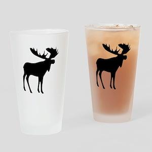 Black Moose Drinking Glass