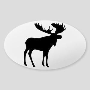 Black Moose Sticker (Oval)