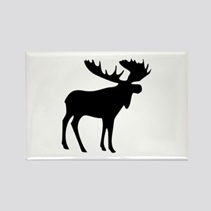 Black Moose Rectangle Magnet