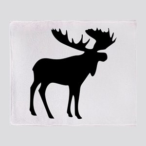 Black Moose Throw Blanket