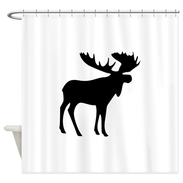 Black Moose Shower Curtain by aMenagerie
