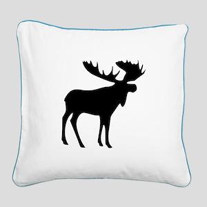 Black Moose Square Canvas Pillow