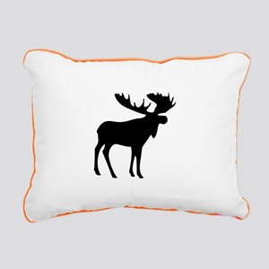 Black Moose Rectangular Canvas Pillow