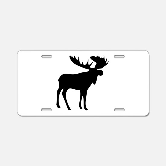 Black Moose Aluminum License Plate