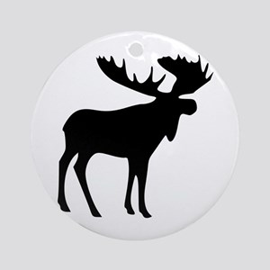 Black Moose Ornament (Round)