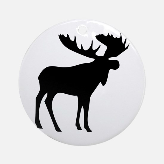 Black Moose Ornament (Round)