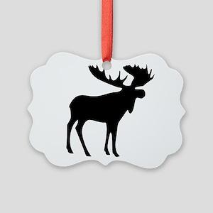 Black Moose Picture Ornament