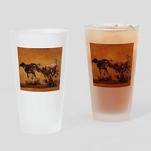 Salukis Running Drinking Glass