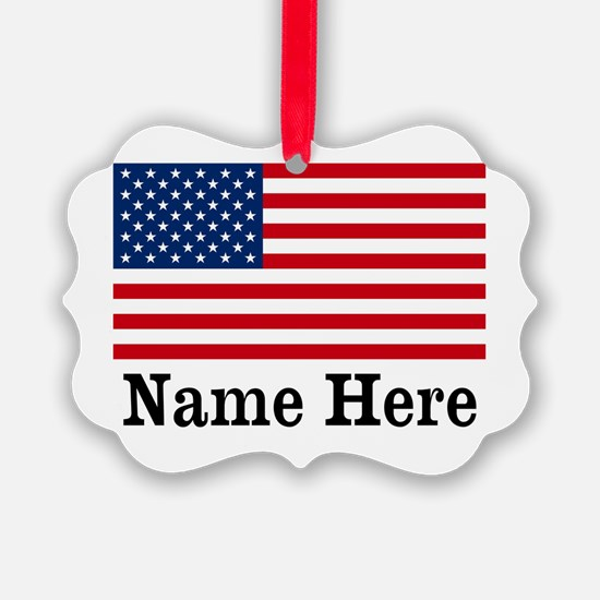 Personalized American Flag Picture Ornament