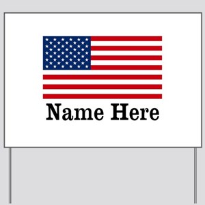 Personalized American Flag Yard Sign