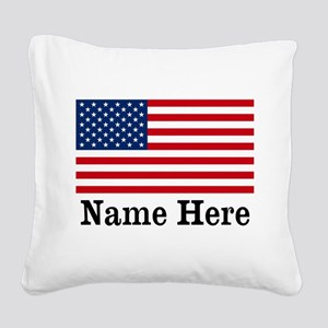 Personalized American Flag Square Canvas Pillow