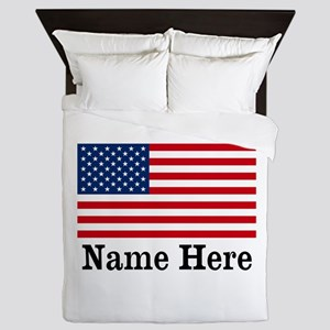 Personalized American Flag Queen Duvet