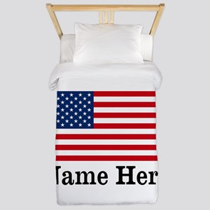 Personalized American Flag Twin Duvet