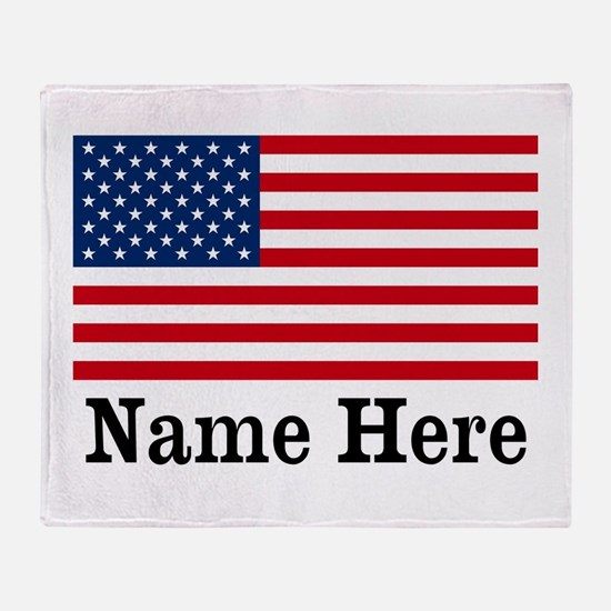 Personalized American Flag Throw Blanket