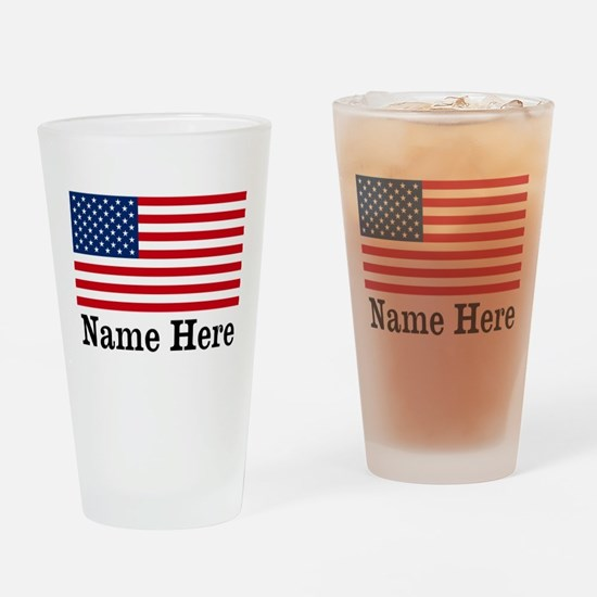 Personalized American Flag Drinking Glass