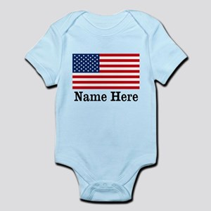 Personalized American Flag Infant Bodysuit