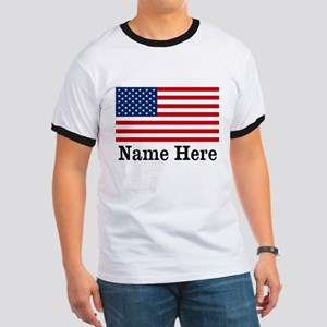 Personalized American Flag Ringer T
