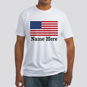 Personalized American Flag Fitted T-Shirt