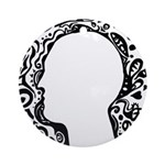 Black and white tribal head Ornament (Round)
