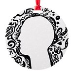 Black and white tribal head Round Ornament
