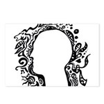 Black and white tribal head Postcards (Package of