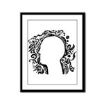 Black and white tribal head Framed Panel Print
