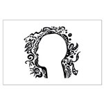 Black and white tribal head Large Poster