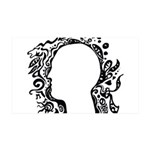 Black and white tribal head 35x21 Wall Decal