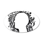 Black and white tribal head 35x21 Oval Wall Decal