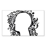 Black and white tribal head Sticker (Rectangle 50