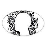 Black and white tribal head Sticker (Oval 10 pk)