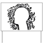 Black and white tribal head Yard Sign