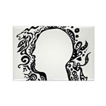 Black and white tribal head Rectangle Magnet (10 p