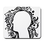 Black and white tribal head Mousepad