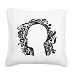 Black and white tribal head Square Canvas Pillow