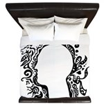 Black and white tribal head King Duvet