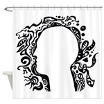 Black and white tribal head Shower Curtain