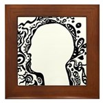 Black and white tribal head Framed Tile