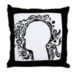 Black and white tribal head Throw Pillow