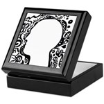 Black and white tribal head Keepsake Box