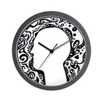 Black and white tribal head Wall Clock