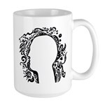 Black and white tribal head Large Mug