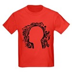 Black and white tribal head Kids Dark T-Shirt