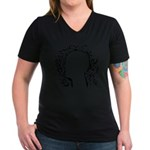 Black and white tribal head Women's V-Neck Dark T-