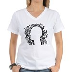 Black and white tribal head Women's V-Neck T-Shirt