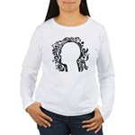 Black and white tribal head Women's Long Sleeve T-