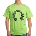 Black and white tribal head Green T-Shirt