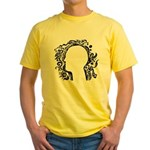 Black and white tribal head Yellow T-Shirt