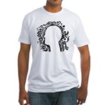 Black and white tribal head Fitted T-Shirt