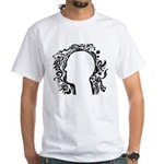 Black and white tribal head White T-Shirt